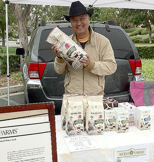 Koda Farms rice being sold at farmers market.